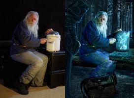 Warlock and mysterious forest ranger (before-after by Stetsenko