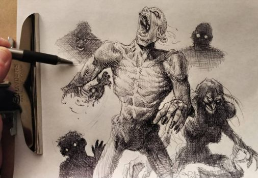 Zombies pen drawing by RayDillon