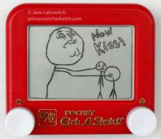 NOW KISS! etch a sketch by pikajane