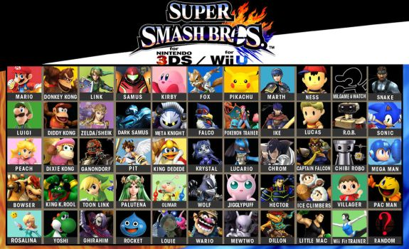 Super Smash Bros. Wii U/3DS: Fanmade Roster by SmashBrawlR7538