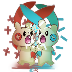 [Commission] Plusle and Minun by ArtOfLostar