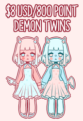$8 USD/800 Point Demon Twins! [CLOSED] by Eineko