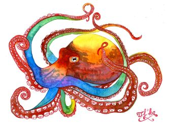 Watercolor octopus by Eif-ka