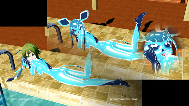 GUMI in Glaceon-Suit from pool-side by sintarMMD
