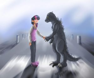 Twilight Sparkle And Godzilla -Request by Repesso