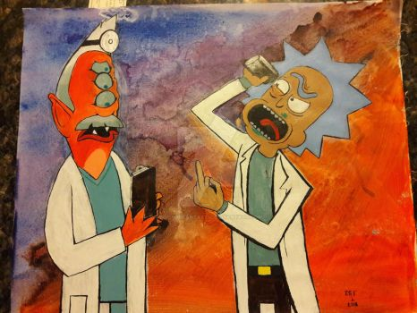 Rick and Morty acrylic painting 2 by DoctorFantastic