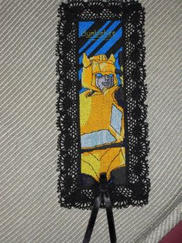 Cross Stitch Bookmark - Bumblebee by nkfloofiepoof