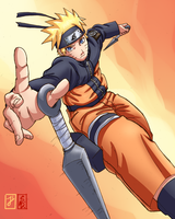 Naruto in action by Ironcid