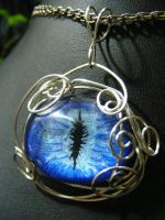 Blue Eye Wire Wrapped Pendant by BacktoEarthCreations