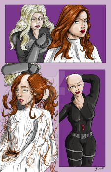 Black Widow Shaved (colored) by danielwartist