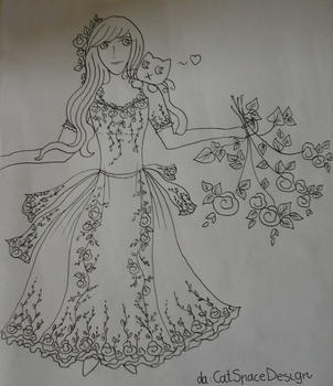Girl with the Rose Dress- Sketch by CatSpaceDesign