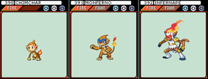 Chimchar, Monferno and Infernape