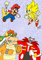 Request - Mario vs. Sonic by TuxedoMoroboshi