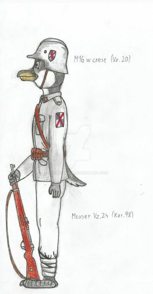 First anthro drawing: Penguin soldier by GeorgeEmpy