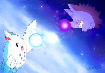 Pokemon | Gengar vs. Togekiss by ZoruDawn