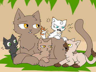 Fernpelt and her kits by mihopony