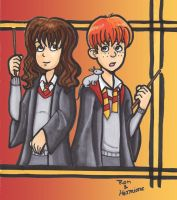 Ron and Hermione by batteryfish