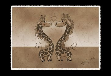 Heart giraffe vintage style by saysly
