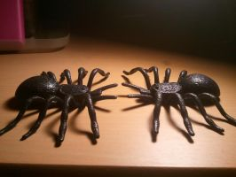 Two Black Glitter Tarantulas by BenorianHardback26