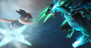 Greninjash vs Mega Charizard by All0412