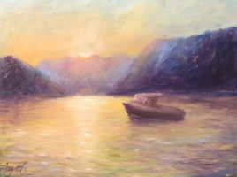 Sunset in the bay of Kotor by Ng-art01