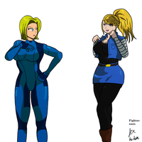 18 and Samus crossover by fighterxaos