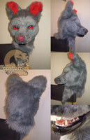 Grey and Red Wolf Mask by Que-Sera-Sera