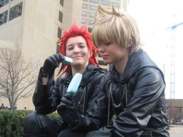 Axel and Roxas-- Ice Cream by SelexiaOfTheHeart