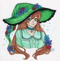 Inktober Day 9 - Flower Witch by DeathTheDragon