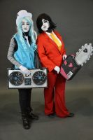 Mettaton and Blooky cosplay by BatzyDRae