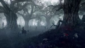 The Witcher 3 Wild Hunt Geralt travel to woods by Scratcherpen