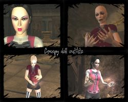 Creepy doll outfits by Badty92