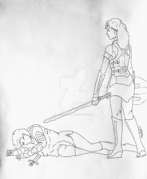 Joan D'Arc and Lady Sif by LaChicaRara