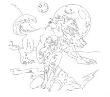 Princess and beast drawing (inked 150dpi) by electronicdave
