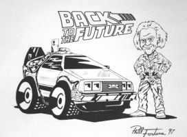 BTTF Delorean and Doc by shark73