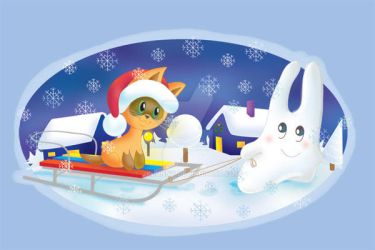Bunny and kitten on the sledge by jkBunny