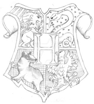 Hogwarts Crest Lineart by TheMagicianLord