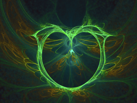 the birth of a green heart neon fractal by TanithLipsky