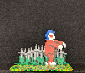 Ghosts n Goblins (NES) mini bead zombie standee by monochrome-GS