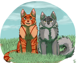 Fireheart and Greystripe by Silver-Scar-Blood