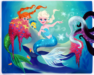 Elsa and Anna in Ariel's World by DylanBonner