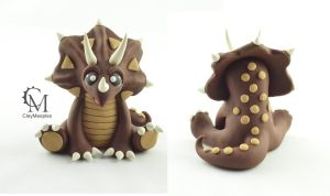 Triceratops Sculpture by claymeeples