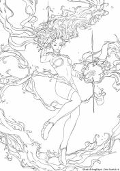 Starfire Lineart available for coloring by SketchingDays