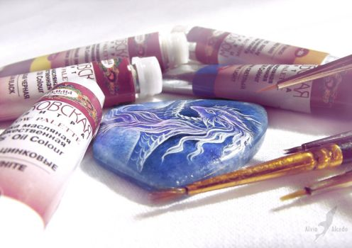 Stone painting - blue winter dragon WIP by AlviaAlcedo