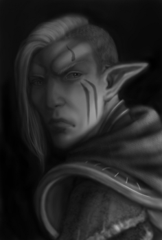 2018-01-04 2148 Dunmer Telvanni Grayscale ver by Guartist