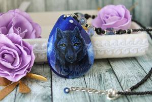 Black wolf and full moon - hand painted pendant by LunarFerns