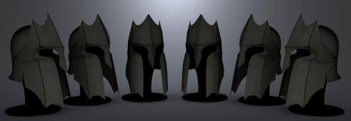 Spartan style helmet long shot by JWright-3D-Graphics