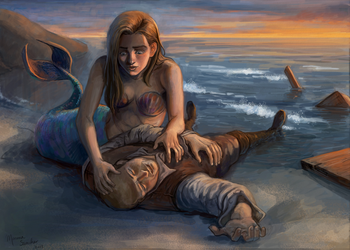 Seaman and Mermaid by marinasanc