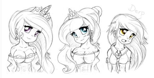 MLP FIM - Human Princesses and Derpy by Joakaha