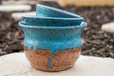Turquoise Stacking Bowls by SunStateGalleries